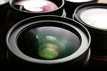 Set of modern camera lenses, closeup