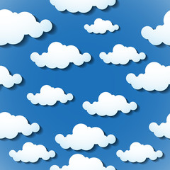 Seamless wallpaper, clouds background. Vector illustration. Eps