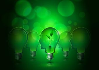 Human Head Light Bulbs Save Ecology Concept