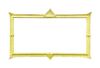Golden wood frame on white