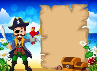 pirate cartoon and parrots with blank sign