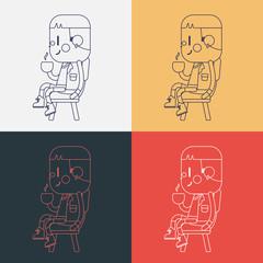 Character illustration design. Boy drinking coffee cartoon,eps