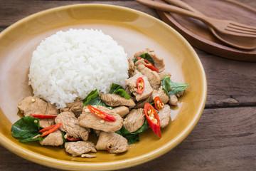 Basil fried rice with chicken (Pad kra prao kai), Thai food