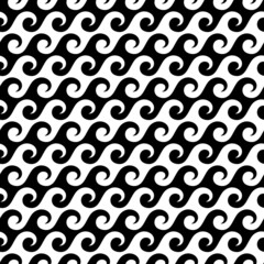 Retro Seamless Pattern Waves Black/White