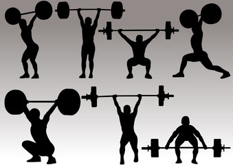 vector illustration of olympic weight lifter silhouette
