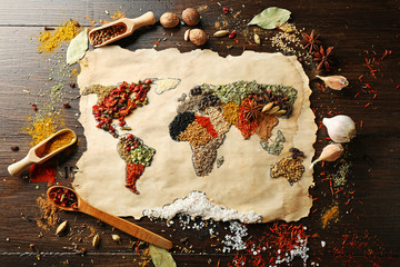 Foto op Aluminium Wereldkaart Map of world made from different kinds of spices