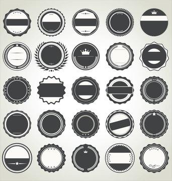 Set of blank retro vintage badges