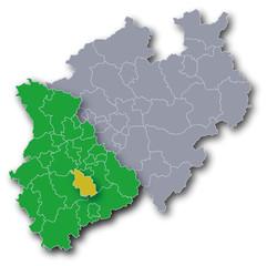 NRW Karte Rheinland und Stadt Köln