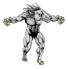 Horse scary sports mascot
