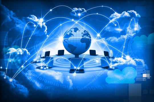 Cloud computing concept, global computer network