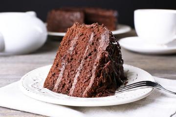 Fototapete - Delicious chocolate cake in white plate