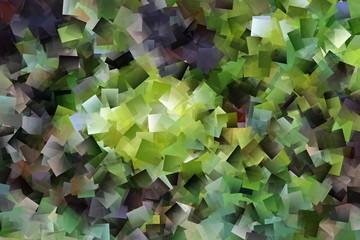 Kubisches Muster in grün und grau