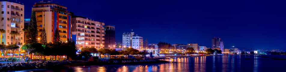 Deurstickers Cyprus A panoramic view of Limassol cityscape at night. Cyprus