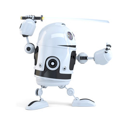 Robot with Katana sword. Сontains clipping path