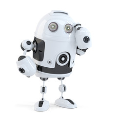 Thoughtful handsome robot. Isolated. Contains clipping path