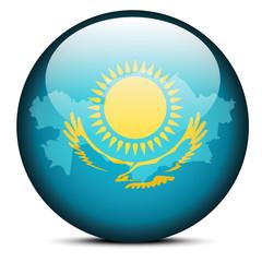 Map on flag button Kazakhstan