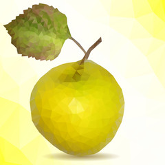 Vector polygon mosaic of yellow apple with green leaf
