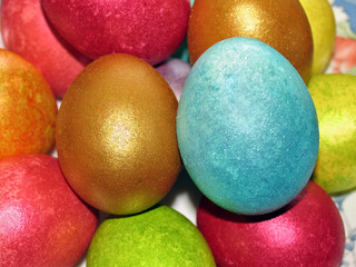 Easter eggs, painted in different colors with pearly shimmer