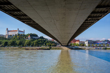Bratislava Castle - under the bridge SNP - Danube