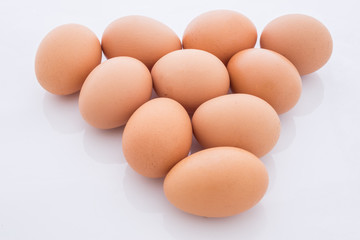 eggs arranged in a triangle is isolated
