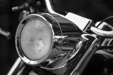 Close up of a motorcycle headlight