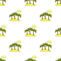 Seamless pattern, sea island with palm trees and blue contours.