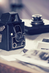 Old cameras and photos, filtered still life