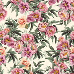 Seamless floral pattern with red, purple and pink roses on light
