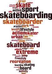 Skateboarding word cloud concept. Vector illustration