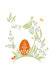 Easter illustration with flowers, egg and bird