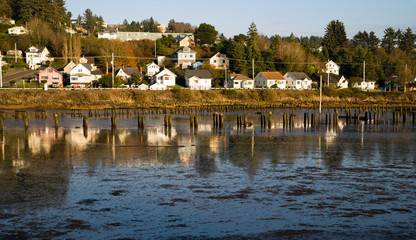 Houses Along Youngs Bay Newhalem HWY Astoria Oregon