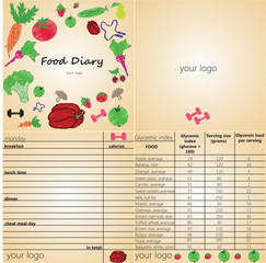 Food diary for fitness adn sport clubs