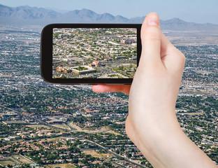 tourist taking photo of Las Vegas Downtown