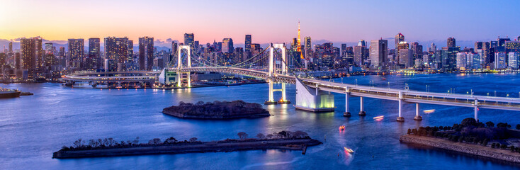 Keuken foto achterwand Tokyo Tokyo Odaiba Rainbow bridge