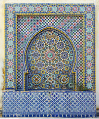 Morocco. Detail of oriental mosaic in Meknes