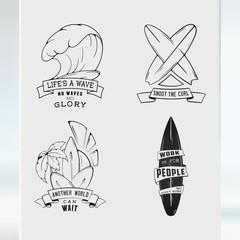 Sketch set surfing illustration logo emblem lettering