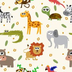 African animals seamless pattern. Cartoon childish animals