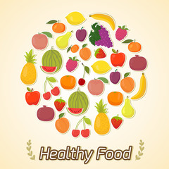 Circle from fruits, healthy food