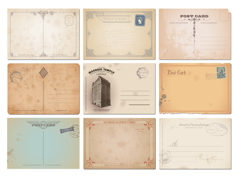 collection of nine vector postcard backgrounds
