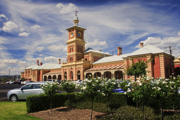 The old historic railway station in Albury