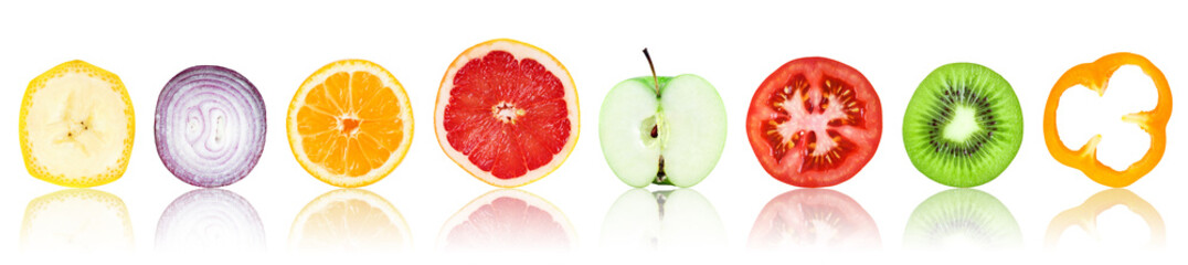 Printed kitchen splashbacks Fresh vegetables Collection of fresh fruit and vegetable slices