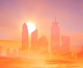 Colorful city double exposure background with rising sun over the sky towers