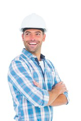 Smiling male worker standing arms crossed