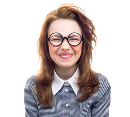 Funny geek or loony girl showing gritted teeth