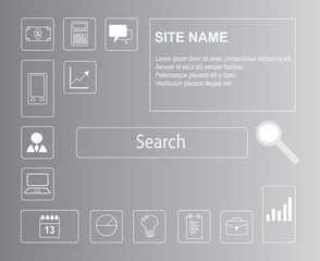 Beautiful website template for eshop or business with many icons