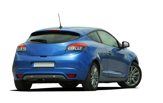 blue car back view