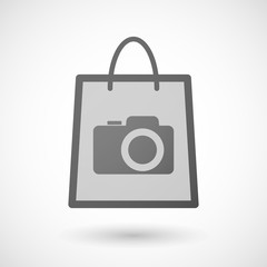 Shopping bag icon with a photo camera