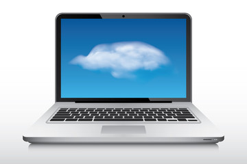 Laptop with realistic cloud on screen as a wallpaper