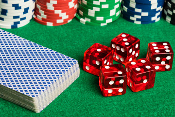 poker cards dices and chips