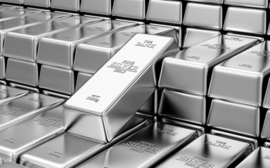 Stack of Silver Bars in the Bank Vault Abstract Background